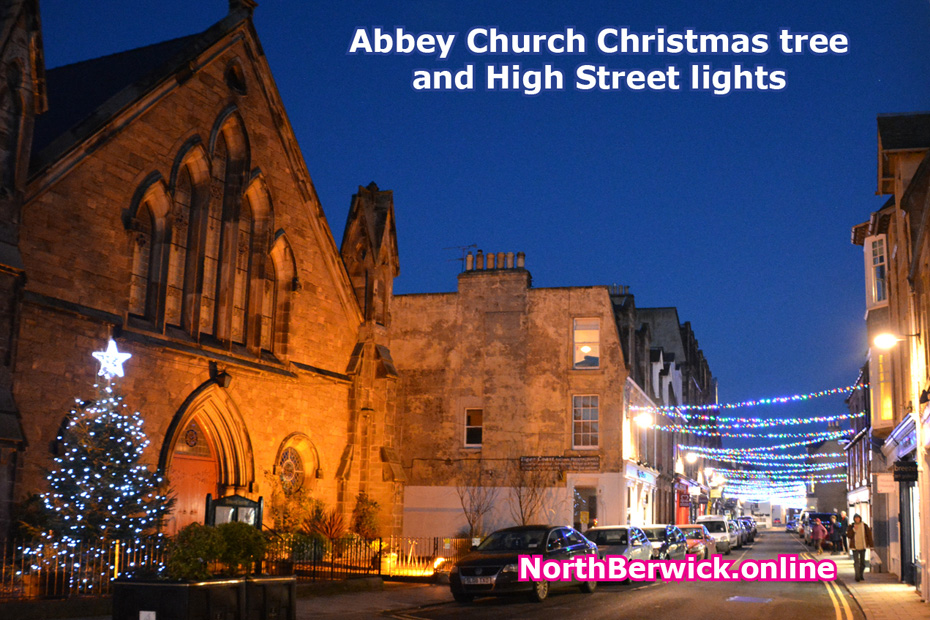 North Berwick Abbey Church Christmas tree and High Street lights