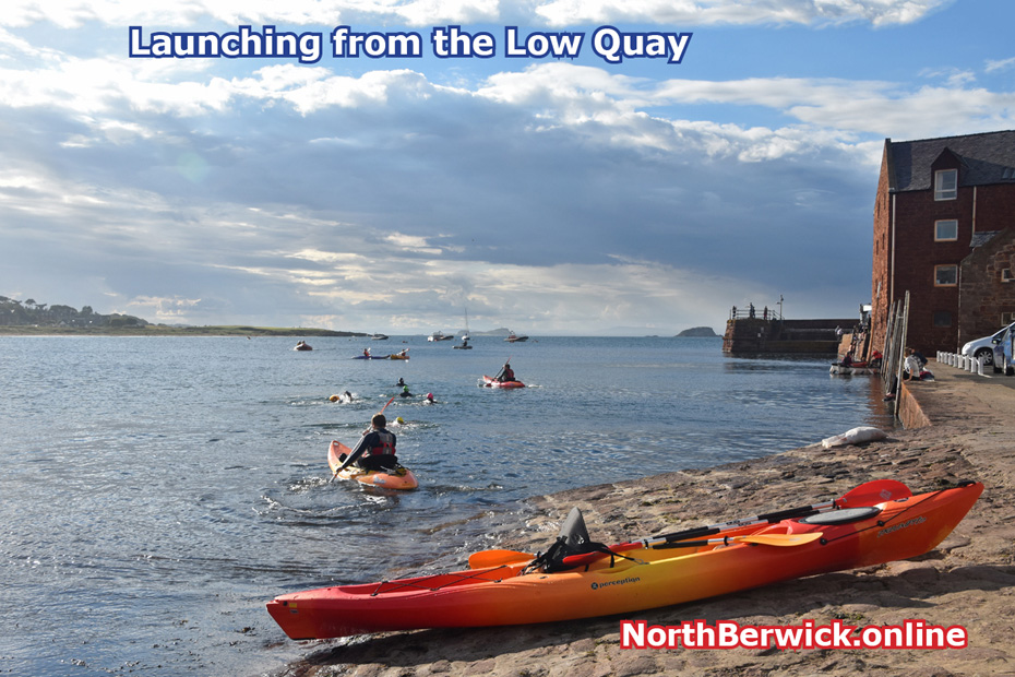 West Bay conoeists launched from the Low Quay, North Berwick