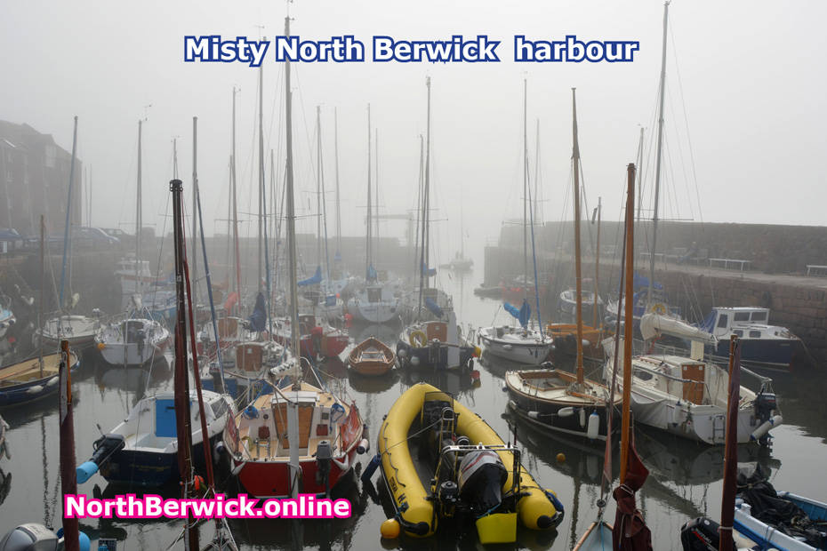 North Berwick harbour and boats in the mist