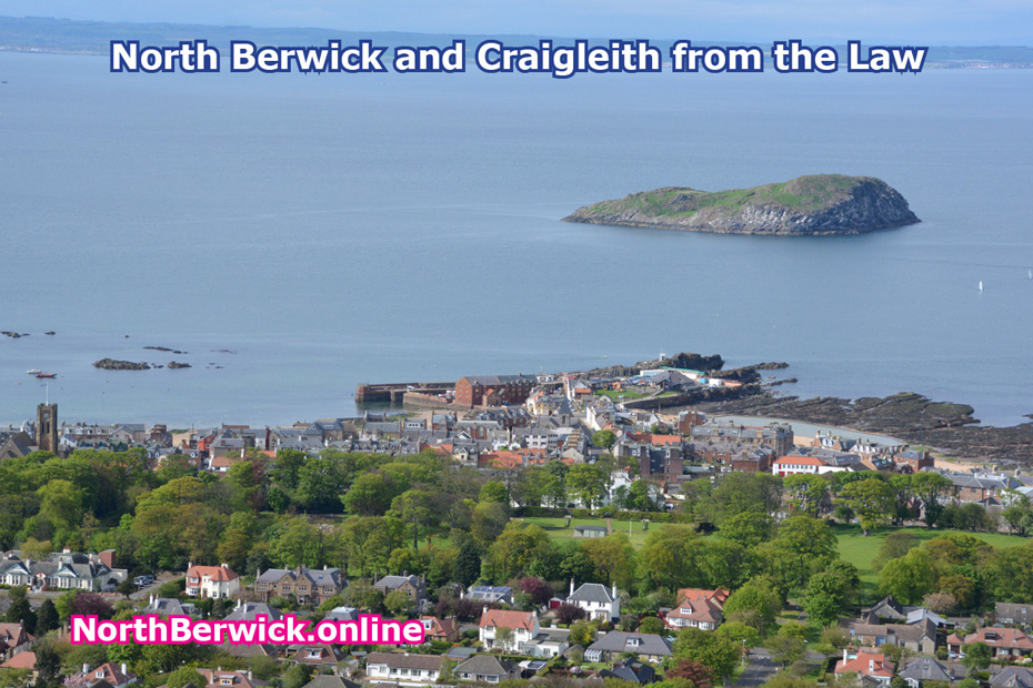 North Berwick Lodge Grounds, harbour, town centre, Craigleith from the Law